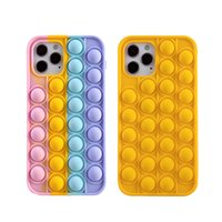 cases Relive Stress Pop Fidget Toys Push It Bubble Silicone Phone Case For Iphone 6 6s 7 8 Plus X XR XS 11 12 Pro Max Soft Cover