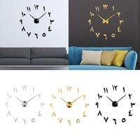 Настенные часы 3D арабские цифры зеркальные наклейки немой часы DIY для домашнего декора