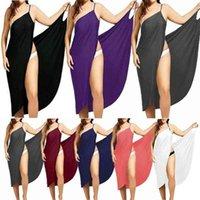 Frauen Strand Kleid Sexy Sling Tragen Kleid Sarong Bilini Vertuschung up Warp Pareo Kleider Backless Bademode Femme 5XL Plus Größe Streifen 210320