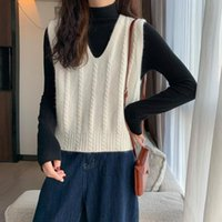 Women's Vests [EWQ] Korea Chic Casual Trend Women V-neck Solid Color Twist Fashion Simple Green Sleeveless Knitted Vest Top Autumn 2021 6E24