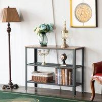 Waco Console Table, 3 rangs de salon occasionnel Sofa Sobliothèque Saisie de l'entrée Tables d'accent TABLES TV, style industriel rustique - noix noire