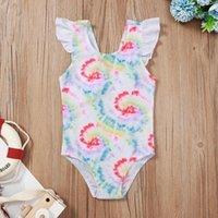 One-Pieces Swimming Girls Swimsuit Toddler Kids Fashion Baby Stamping Summer Tie-Dye Bikini One-Piece Bathing Suit Beachwear D14#