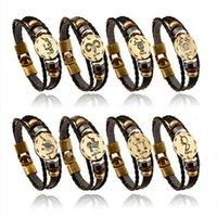 Douze Constellation Punk Bracelet Handmade En Cuir Étudiants Couples Bracelets Pu pour Noël Present Gratuit