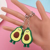 Keychains Wholesale 20PCS LOT Simulation Fruit Avocado Shaped Keychain Keyring 3D Soft Key Chains Fashion Jewelry Party Gift