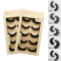 3D mink hair soft eyelashes natural long 5 pairs per pack resuable makeup full strip lashes with box