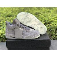 X أحذية 4 مع أعلى كاو بارد رمادي الرجال كرة السلة 4S أسود من جلد الغزال الرياضية الولايات المتحدة 7-12
