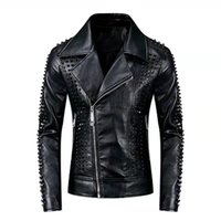 Fashional design Men's leather jacket with rivet & zipper motorcycle coat