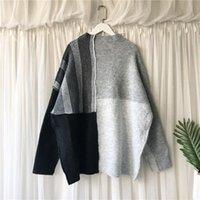 Женские свитера [EWQ] 2021 весенние дамы All-Match Lazy ветер толстый вязаный пуловер свободный большой размер наружной одежды шить свитер женщины 16Q