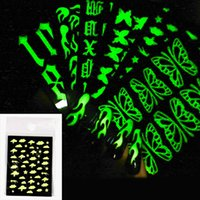 3D Nail Decals Butterfly Flame Vintage Alphabet Designs 6 Styles Luminous Nails Art Stickers Glow In The Dark Glitter Manicure Decorations Tools