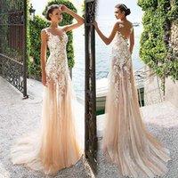 놀라운 얇은 명주 그물 레이스 바로 목선 Sheath Prom 드레스 레이스 아플리케 샴페인 이브닝 드레스 Vestido de Formatura