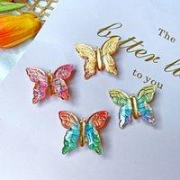 Szyki do włosów dla kobiet Butterfly Hair Class Lady Pins Rainbow Barretki Hairclip Butterfly Rhinestone Hair Klips 2835 Q2