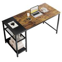 مكتب الكمبيوتر دراسة الأثاث مكتب المنزل والمدرسة الكتابة مصالبة نمط بسيط إطار معدني القهوة