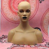 Nuovo arrivo nero rossetto luce femminile femmina fibra di vetro manichino testa busto per parrucche cappello gioielli display