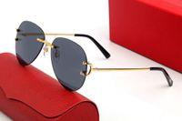 2021 Klassische Unterschrift C Männer Frauen Sonnenbrille Aviator-Objektiv Marke Logo Metallmaterial Gold blinkende schwarze Platte Fußabdeckung Klargläsere Einfache Elegante Stil