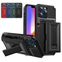 Kickstand Case with Card Slot Shockproof Phone Cases Cover for iPhone 13 12 Mini 11 Pro Max XS XR X 6 7 8 Plus