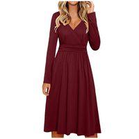 Casual Dresses Summer Women Loose Wrap V Neck Solid Office Lady Long Sleeve High Waist A Line Basic Dress Vestidos