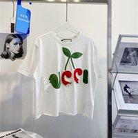 21 봄 여름 뉴 G 여성 수 놓은 체리 편지 짧은 느슨한 캐주얼 짧은 소매 라운드 목 티셔츠