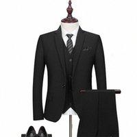 Browon 2020 Новое Прибытие Мужской костюм 3 шт. Мода Slim Fit Black Tuxedo Свадебное платье Вечеринка Дата Социальные работы Groomsmen Suit Men Z0i5 #