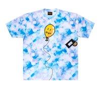 망 디자이너 티셔츠 스마일 풍선 파란색 흰색 넥타이 염료 드류 티 힙합 레트로 하이 스트리트 짧은 소매 탑 캐주얼 패션 남성 의류