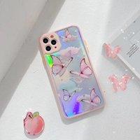 Carino porpora Cassa del telefono della farfalla per iPhone 12 11 Pro Max Caselli Glitteri Carta laser + Copertura del silicone per iPhonephone XR XS Fundas Coque