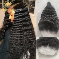 Lace Wigs Deep Wave Full 13*4 Front Human Hair 4x4 Closure Frontal Curly Wig Natural Black For Women