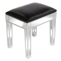 WACO Mirrored Vanity Stool, Makeup Bedroom Furniture Dressing Stools with Storage,Modern PU Leather Cushioned Chair Piano Seat for Living Room,Silver, Black