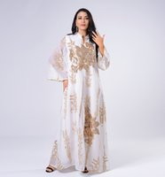 2021 Moda Tasarım kadın Etnik Tarzı Altın Payetli Nakış İplik Gevşek Artı Boyutu Maxi Uzun Elbise SMLXL