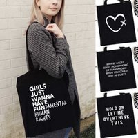 Складная многоразовая покупка сумки женщин путешествия плеча продовольственные сумки сумки буква печатает Harajuku шоппинг черный холст Tote мода WO