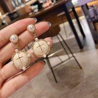 Earring 925 Sier French gentle pearl temperament Cross Earrings female court style earrings