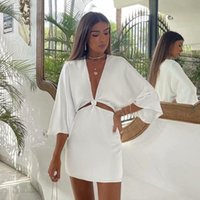 Casual Dresses Ardm Sexy Deep V White For Women 2021 High Waist Hollow Out Flare Sleeve Mini Dress With Lining Vestidos Party