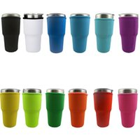Solid Color Reusable Ice Coffee Cup Sleeve Drinkware Handle Neoprene Insulated Water Bottle Mug Cover Holder Case Bags Pouch For 30oz 32oz Tumbler Cups sleeves ZC424