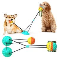 Pet Molar Bite Toy Multifunction Dog Biting Toys for two dogs Rubber Chew Ball Cleaning Teeth Safe Elasticity Soft Dental Care Suction Cup