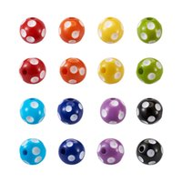 1 Box Chunky Bubblegum Opaque Acrylic Resin Beads Mixed Color Polka Dot Printed Bracelet Necklace Loose Bead DIY Jewelry Making