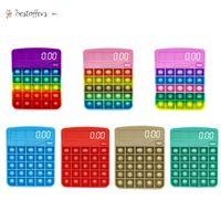 US Stock NEW Fidget Calculator Leksaker Kawaii Antistress Push Bubble Rainbow Reliver Stress Vuxen Chlidren Sensory Toy Presenter med Autism Bt19