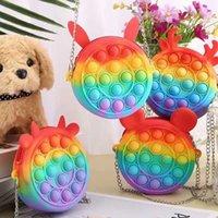 Fidget Toys Coins Borsa Colorful Push Bubble Sensory Squishy Stress Stress Reliever Autism Ha bisogno Anti-stress Rainbow Adulto giocattolo per adulti piccole borse per