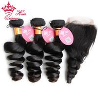 Королева волосы девственницы человеческие волосы с закрытием 4 шт. / Лот, индийские пакеты волос с кружевными замыканиями 100% необработанные свободные волны DHL бесплатно