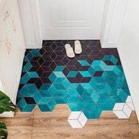 Couro Indoor Tapetes ao ar livre Geometria de diamante Geometria xadrez Capacete antiderrapante Óleo à prova de óleo lavável área de tapete de tapetes para tapetes de banheiro