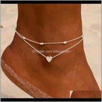 Entrega de gotas 2021 CORAZÓN FEMENINO Sandalias de ganchillo descalzo Sandalias de la joyería de los tobillos de los tobillos Pulseras Mujeres ju3