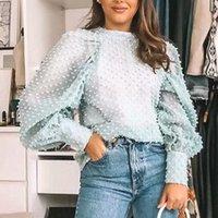 Frauen elegante Bluse o neck laterne sleeve sehen durch hemd weibliche 2020 casual gemütliche tops blusas türkis