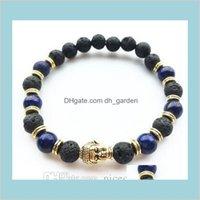 Perline, fili gioielli3 colori buddha testa fortunato fascino vulcano pietra mini perline per uomini braccialetti gioielli donne moda aessories drop de
