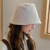 Wide Brim Hats YQYXCY Women Hat Winter Autumn Corduroy Solid Color Bucket Fisherman Cap Korean Casual Simple Retro Gorro Bob 2021
