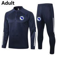 2021 Bosna-Hersek Futbol Eğitim Takım Elbise erkek Eşofman Yetişkin Futbol Survetement Eşofman Setleri Kitleri Kış Spor Uzun Kollu Kazak Pantolon Set