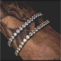 Bracelets Jewelry Men Iced Out Cut Tennis Bracelet Triple Lock Hiphop 1 Row Luxury Cz Braceletsps1442 Drop Delivery 2021 2Gabh
