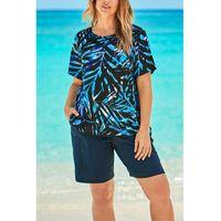 Summer Beachwear Bathing Suit Seaside Travel Vacation Print Short-sleeve T Shirt + Casual Five-point Pants Beach Wear Swimsuit Women's Swimw