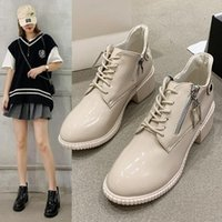 Dress Shoes CINESSD 2021 Lace-up High-heeled Boots Single Patent Leather Short Low-cut Women's Trend