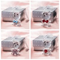 Lovely Crystal Bear Favor Romantic Wedding Valentine's Day Gifts With Colorful Box Party Favors Baby Shower Souvenir Ornaments For OOD5652