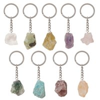 Natural Original Stone Crystal Silver Plated Key Rings Keychains For Women Men Fashion Party Club Decor Jewelry 1206 B3