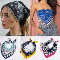 Elegant Silk cotton Print Bandana Hair Bands for Girls Women Headband Scarf Face Mask Cross Turban Bandanas Headwear 70cmX70cm