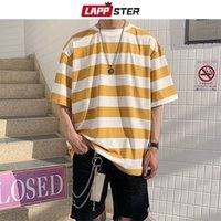 LAPPSTER Men Streetwear Striped Tshirt Summer Mens Funny Hip Hop Loose T Shirt Male Vintage Fashion Tees Casual Yellow Tops 210319