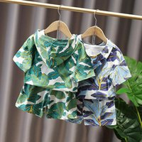 Boy Girls Suit Summer Handsome Trendy Hoodie Baby Clothes Kids Short-sleeved Beach Style Children Two-piece Suit(Top+Pant) Clothing Sets